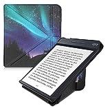 kwmobile Funda Compatible con Kobo Libra H2O - Carcasa magnética de Origami para e-Book - Ciervo con la Aurora Boreal Turquesa/Azul/Negro