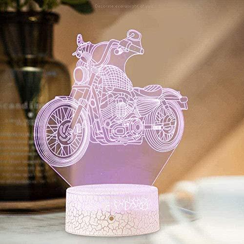 APXZC Motocicleta 3D Luz de Noche para niños 7 Colores LED Lámpara de Mesa táctil Lámpara de Ahorro de energía Moda Decoración Creativa del hogar Regalo Decoración del hogar