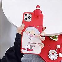 に適用するiPhone 11 Pro Max 12 X XS XR 7 8 Plus SE 2020保護カバー、かわいい漫画、3Dクリスマストナカイスノーマンシリコンアンチフォールバックカバーに適しています