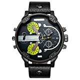 CAGARNY Original Men's Sports Leather Strap 2 dials can Work Quartz Date Watch 6820 All Black