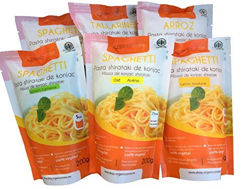 Pasta Konjac OrganicCenter - Surtido y variedades de diferentes sabores (Tallarines Espinaca)