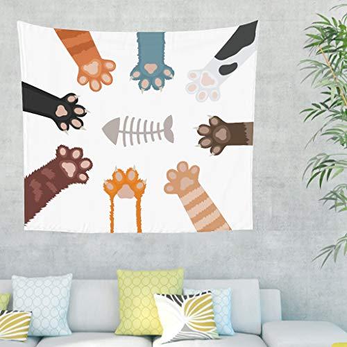 Tapisserie murale humoristique pour chat, poisson, décoration murale pour chambre à coucher, plage, nappe 100 x 150 cm Weiß