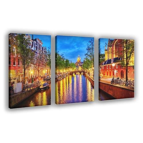 Amsterdam Bridge Boot Street Lamp Canvas Poster Muur Art Decor Print Foto Schilderijen voor Woonkamer Slaapkamer Decoratie Frame:24×36inch (60×90cm)