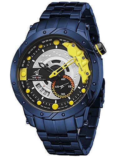 Alienwork Armbanduhr Herren blau Edelstahl Metallarmband Kalender Datum gelb XL Große