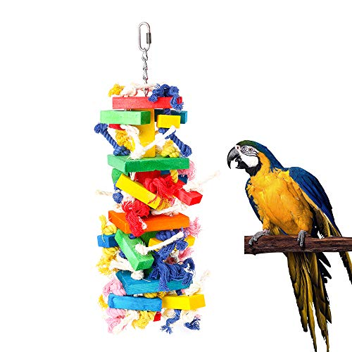 Dono Parrot Knots Blocks Chew Wooden Block Bite Toys Birds African Grey Pure Colorful Knots with Multiple for Small and Medium Parrots and Birds