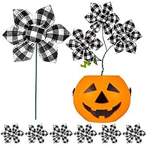 halloween table decoration fall flower decorations halloween table centerpieces buffalo plaid poinsettia haunted house artificial poinsettia flower decorations (black and white,6 pieces) silk flower arrangements