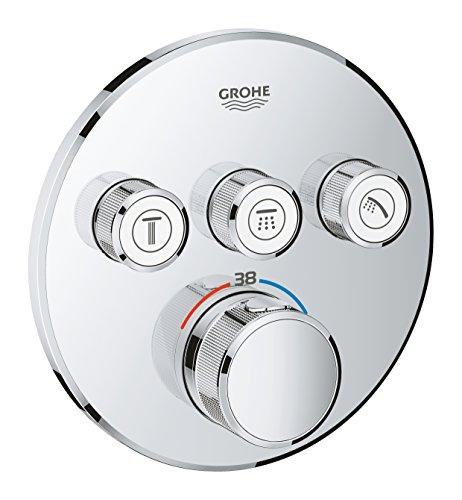 Grohe Grohtherm SmartControl - Termostato redondo para ducha y baño con instalación empotrada y tres válvulas, Cromo (29121000)
