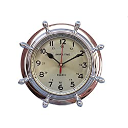Hampton Nautical WC-1451-CH Double Dial Porthole Wheel Clock 8-Chrome Shipwheel-Port Hole, 8