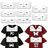 T-Shirt Ruler Guide for Designing Clothing Back and Front Including V-Neck Alignment Tool, Adult Youth Children V-Neck (8 Rulers Included)