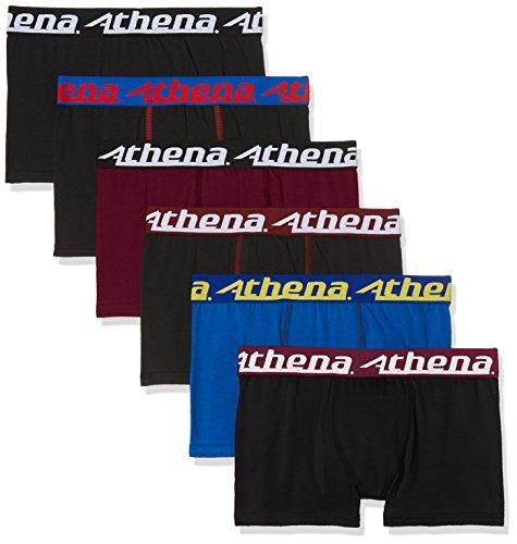 ATHENA - LOT 6 Boxers - Trio Choc - Garçon - 14 Ans - Boxers - 95% Coton - Noir x4/Bleu/Bordeaux