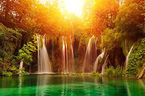 Fototapete selbstklebend | Wasserfall im Sonnenlicht | in 150x100 cm | Bild-tapete Moderne Wand-deko Dekoration Wohnung Wohnzimmer Wandtapete | 17196