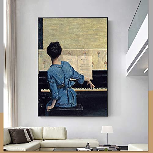 N / A Art Girl Woman Piano Poster und Drucke Ölgemälde auf Leinwand Wandkunst Bild für Wohnzimmer Schlafzimmer Home Decoration40x50cm