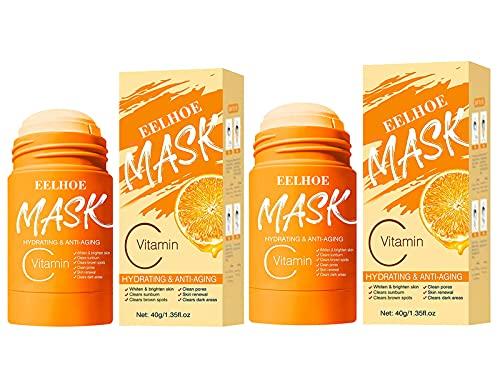 EFEG Charcoal/Vitamin C Mask Stick for Face Purifying Clay, Deep Clean Pore Mask Stick, Moisturizing Nourishing Skin, Oil Control, Blackhead Mask for All Skin Types Men Women (2PCS Vitamin C)