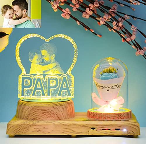 L�MPARA DE PAP� Regalo personalizado Foto de cristal personalizada Luz nocturna Luz...