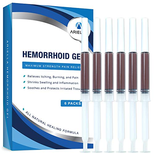 Ariella Hemorrhoid Treatment Gel - Cleaner and Easier Application Than Hemorrhoid Cream and Hemorrihoid Ointment - Best for Burning Itching Pain Relief - 6 Applicators Included