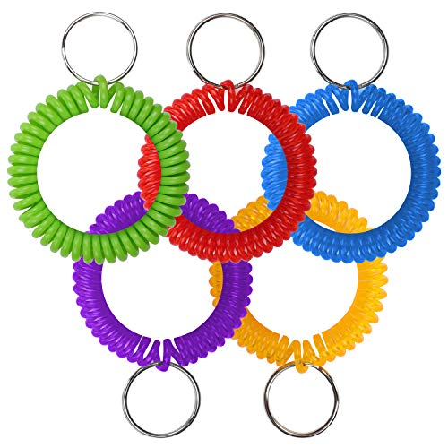 Pack of 5 Colorful Spring Elastic Stretchable Spiral Wrist Spring Coil Keychain, Bracelet & hair Ties - Wrist Band Keychain Ring Ideal for Gym Pool ID badge, Outdoor Sports, Sauna, Office & Home