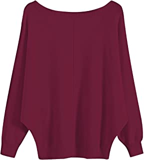 Women's Batwing Sleeve Knitted Sweater Boat Neck Pullover Top