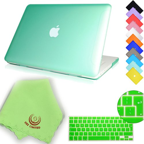 UESWILL 2in1 Smooth Soft Touch Matte Hard Shell Case with EU/UK Version Silicone Keyboard Cover for 13 inch White Unibody MacBook (Model: A1342), Green