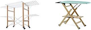 Foppapedretti Gulliver, étendoir à Linge Pliant, 105 x 80 x 174 cm, Bois Noyer & Table à Repasser Assai Nature