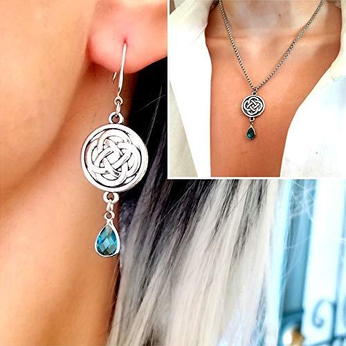 Irish Celtic Cross Love Knot Earrings and Charm Necklace Set, Scottish Irish Jewelry Gift, Aquamarine Birthstone Celtic