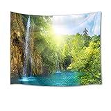LB 自然風景タペストリー 森の滝 太陽と瀑布 おしゃれ 壁掛け インテリア モダン 風景画 ファブリック装飾品 多機能 壁 窓 個性プレゼント 布製 グリーン (200x150cm)