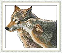Cross Stitch Kits for Beginner 11CT Stamped Cross Stitch Embroidery Sets Two Animals WolfHandicraft Cross-Stitch Supplies Needlework Gift for Home Decor-16x20 inch