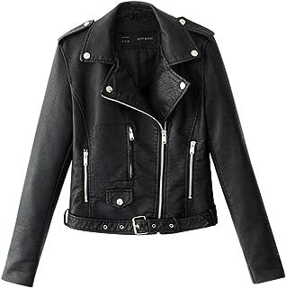 Aniywn Women's Faux Leather Motorcycle Biker Jacket Slim Short Ladies Lapel Bike Zipper Coat with Pocket