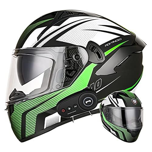 Casco integral de motocicleta D.O.T Bluetooth Cascos de protección para ciclomotores para adultos para todas las estaciones con micrófono oculto de lente antivaho doble (Flecha verde) (55~57cm M)