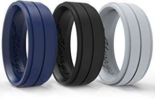 Arua Silicone Wedding Ring for Men. Comfortable and Durable Rubber Wedding Ring for Sports, Gym, Outdoors - 2mm Thick - Silicone Wristband Included