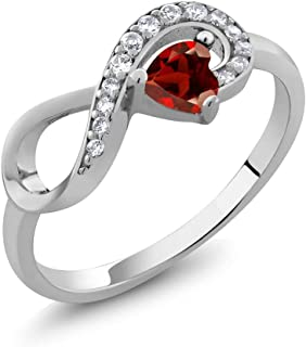 925 Sterling Silver Heart Shape Red Garnet Women's Infinity Ring (0.44 Cttw, Gemstone Birthstone, Available 5,6,7,8,9)