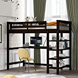 Polibi Twin Size Rubber Wooden Loft Bed with Storage Shelves and Under-Bed Desk for Teens Adult, Espresso