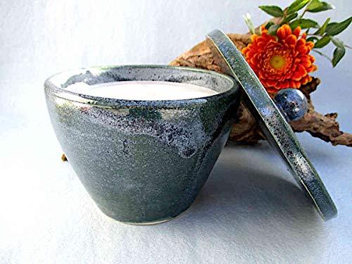 Kerzenfresser Keramik Indoor meerblau mit Deckel, 13x11 cm, Wachsfresser für innen, Schmelzlicht, Tischfeuer, zum Schmelzen von Kerzen- und Wachsresten, mit Glasfaserdocht, reine Handarbeit