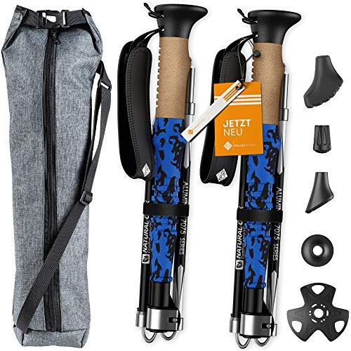 HrubyRoad® Bastoncini da Nordic Walking Ultra stabili in set con 5 accessori e custodia abbinata, 100% affidabili e sicuri, bastoncini da trekking telescopici per ogni terreno, regolabili e pieghevoli