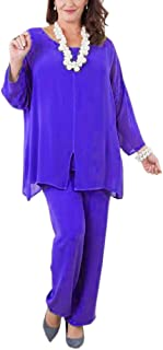 Chiffon Mother of The Bride Pant Suits with Long Sleeves