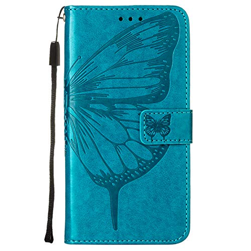 HiCASE Pro Funda para iPhone 6/iPhone 6S/iPhone 7/iPhone 8/iPhone SE 2020, Stylish Embossed Butterfly Flower Premium PU Leather Wallet Flip Protective Case Flip Cover with Card Holder Stand