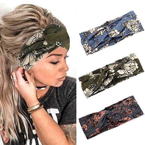 Fashband Boho-Stirnbänder, breit, kreuzförmig, mit Blumenmuster, modisch, gedrehtes Haarband für Frauen und Mädchen, 3 Stück