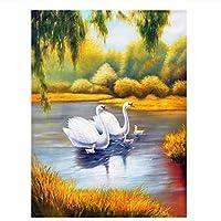 キットによる絵画 塗り絵 手塗 子供 DIY絵 デジタル油絵 動物の白鳥-40x50cm (フレームレス)