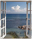 Artland Schlüsselbrett Holz mit 4 Haken Schlüsselboard Schlüsselaufhänger 20x25 cm Landschaft Fensterblick Strand Küste Meer Himmel Blau T9II -