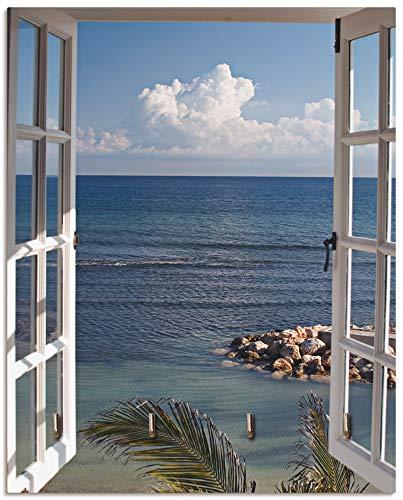 Artland Schlüsselbrett Holz mit 4 Haken Schlüsselboard Schlüsselaufhänger 20x25 cm Landschaft Fensterblick Strand Küste Meer Himmel Blau T9II