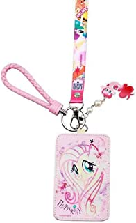 My Little Pony Lanyard, Cute Cartoon Badge Holder with 2 Card Slots, PU Leather, Pink Hand Rope and Pony Ornaments, Suit for Little Kids Students Teens Girls