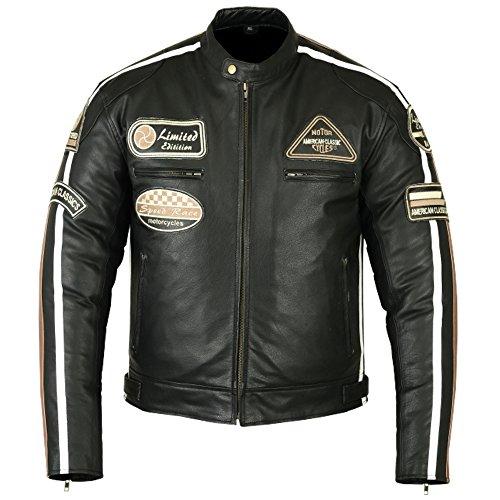 Lederjacke Leder Jacke für Biker Chopper Mottoradjacke Motorrad Rocker Punk (M)