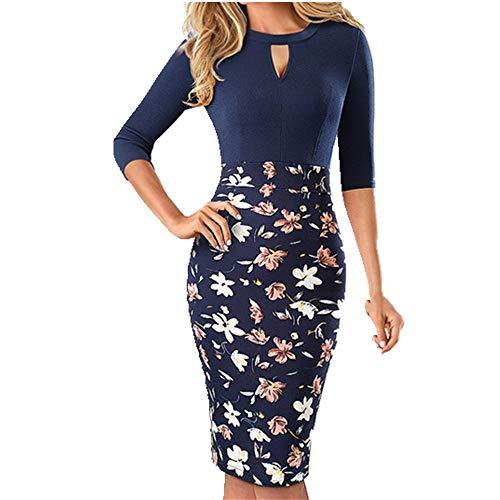 N\P Floral impreso vestidos de oficina vestido de las mujeres de la envoltura de negocios ajustado