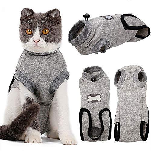 Hmpet Katzen Wiederherstellungsanzug,Pet Soft Wear Coat E-Collar Alternative mit...