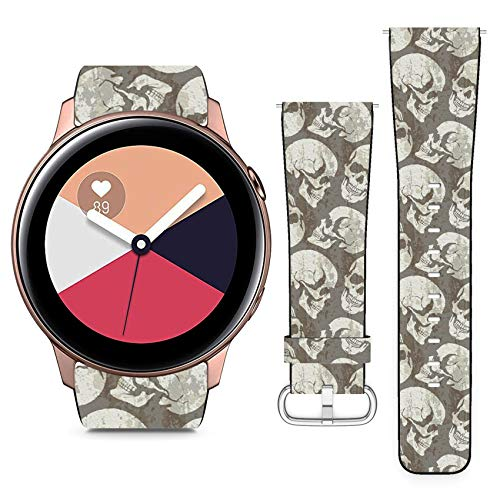 Compatible with Samsung Galaxy Watch Active // 20mm Leather Replacement Bracelet Strap Wristband with Quick Release Pins // Skulls