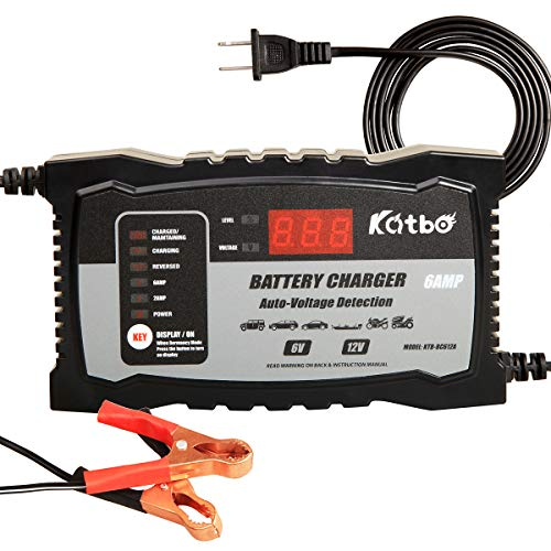 KATBO Automatic Battery Charger 6V 12V Auto-Voltage Detection, 2Amp 6 Amp Lead Acid Battery Float...
