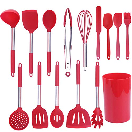 MedusaABCZeus Color stainless steel silicone handle 15 piece set, storage bucket kitchen tool shovel spoon-red_15 piece set