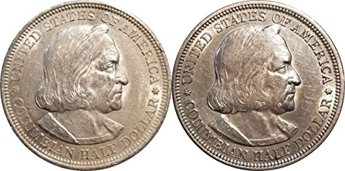 1892-1893 Columbian Silver Half Dollar Set, 2 Different Dates in Air-Tite Capsules XF/AU