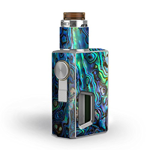 Skin Decal Vinyl Wrap for GeekVape Athena Squonk Kit Vape Kit skins stickers cover / Abalone Shell Green Swirl Blue Gold