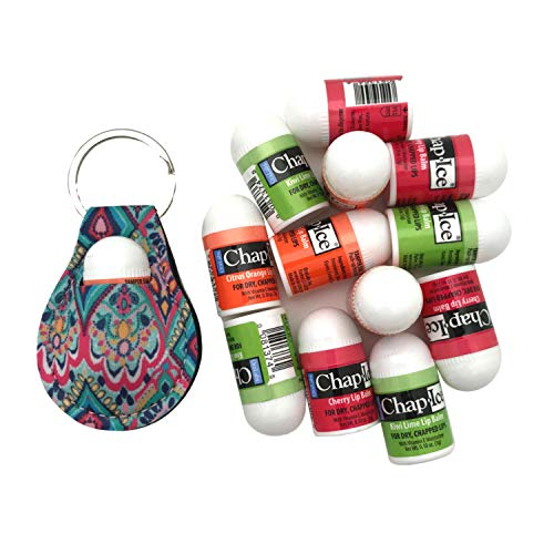 Chap Ice Mini Lip Balm with Vitamin E Moisturizer for Dry Chapped Lips Citrus Orange, Kiwi Lime and Cherry Flavors with Mini Chapstick Keychain Holder — Lip Therapy Bundle, 12 x 0.10oz (3g) (Mint and Almond Swirl Flavors w/ Keychain Holder) (Orange, Lime and Cherry)