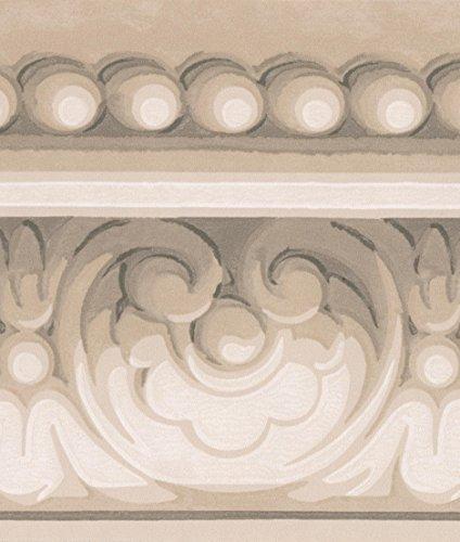 Grigio bianco damascato Crown Molding Wallpaper Border, design classico, roll 15'x 14cm